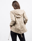 Back View of Hooded Utility Jacket