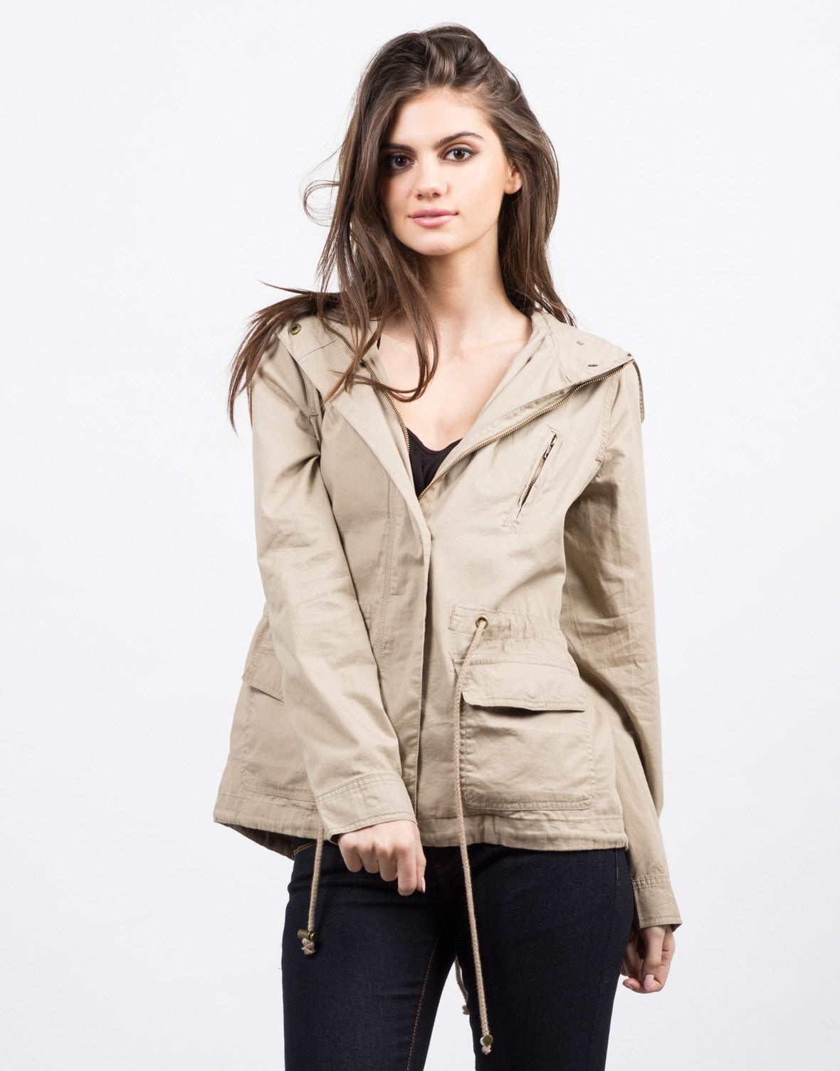 Front View of Hooded Utility Jacket