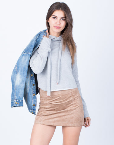 Front View of Hoodie Cropped Sweater