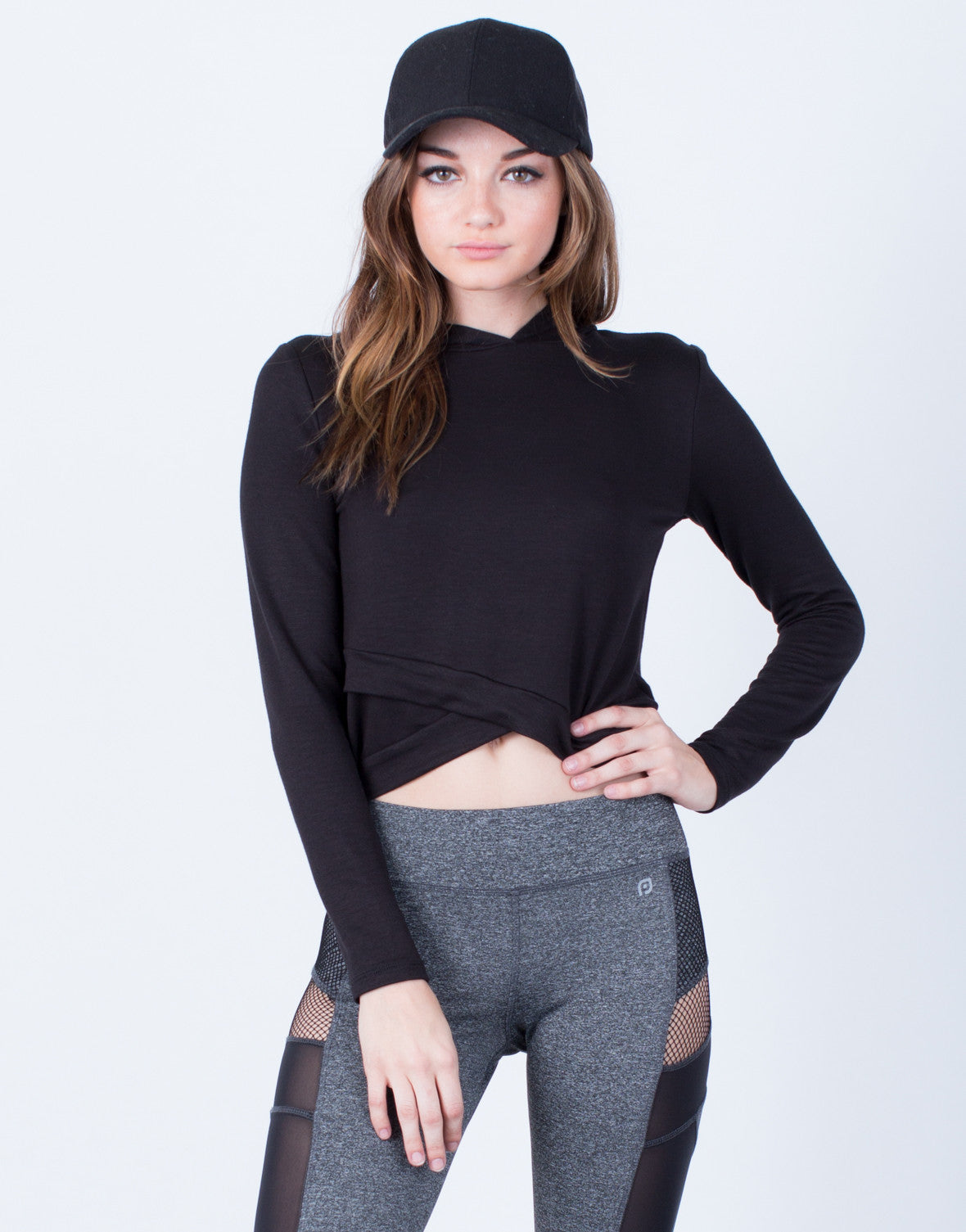 Front View of Hoodie Cropped Top
