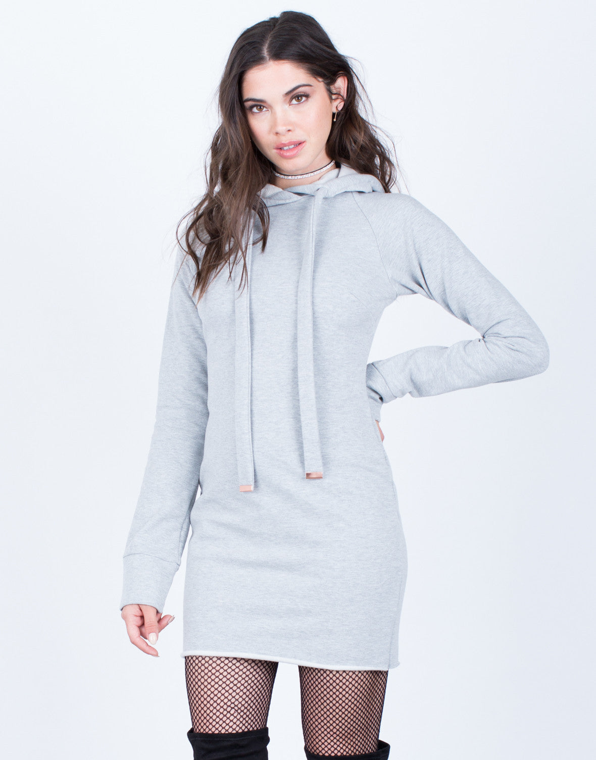 Front View of Hoodie Sweater Dress