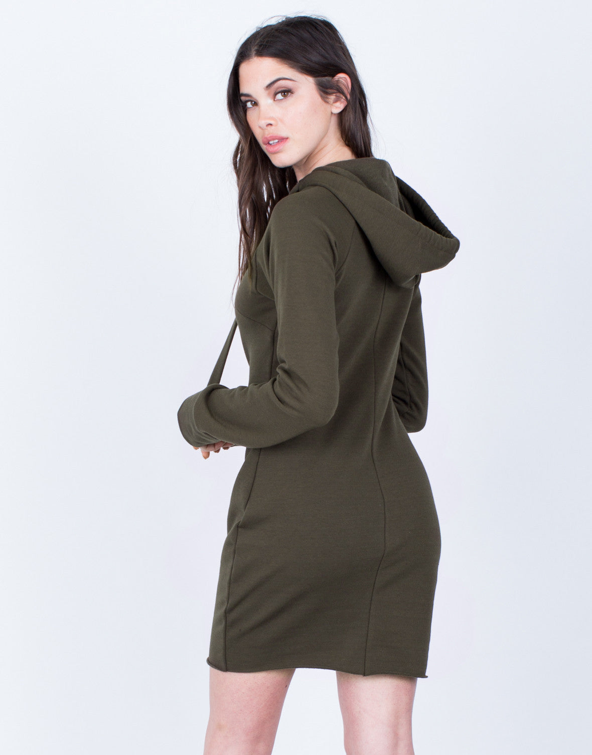 Back View of Hoodie Sweater Dress