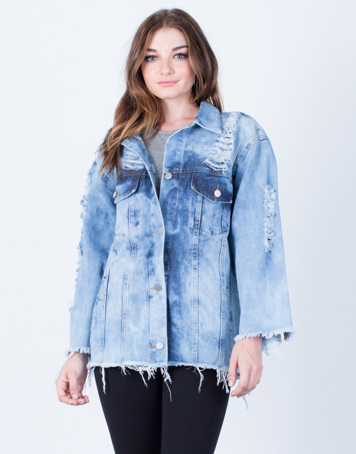 Front View of In a Daze Denim Jacket