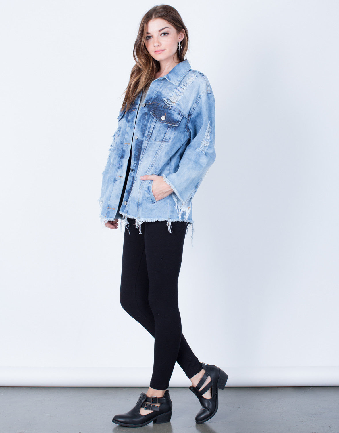 Side View of In a Daze Denim Jacket