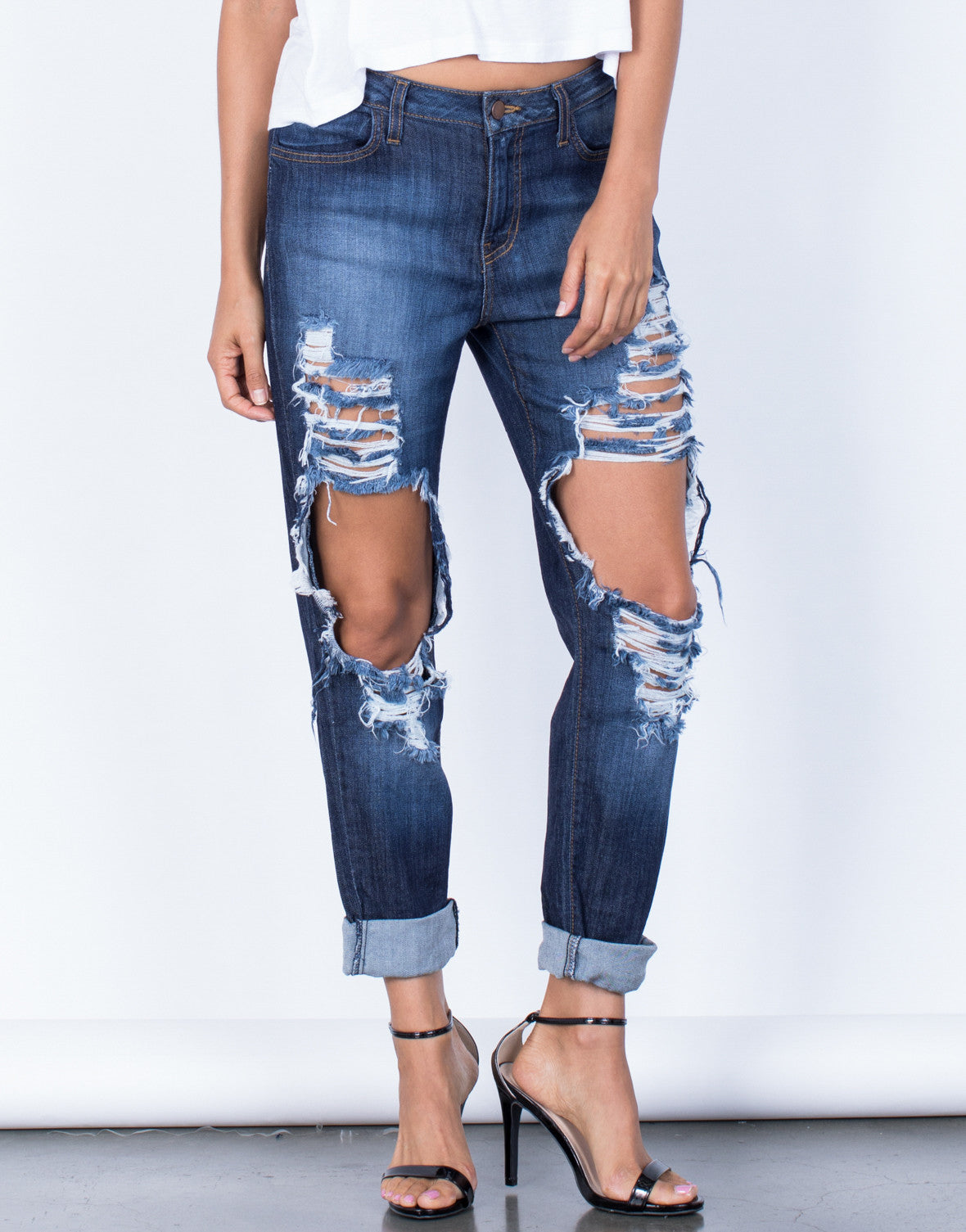 Front View of In Them Boyfriend Jeans