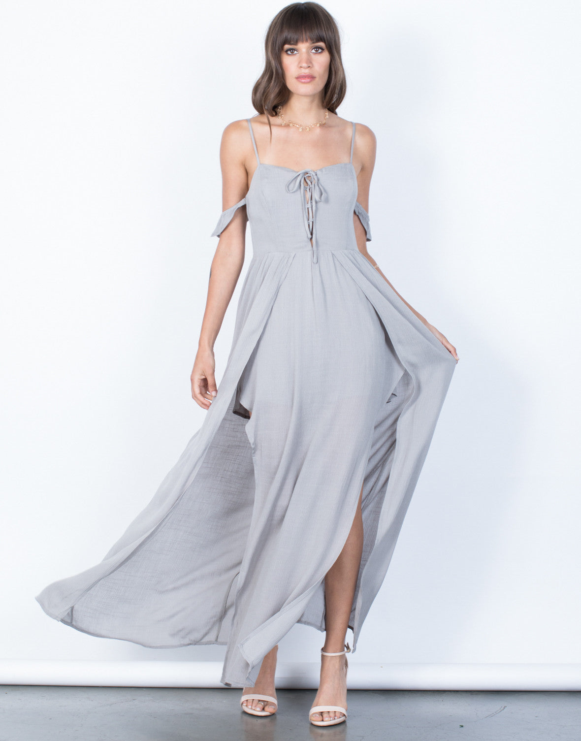 527bab14369 Inner Goddess Maxi Romper - Light Gray Maxi Dress - Ruffled Off the ...