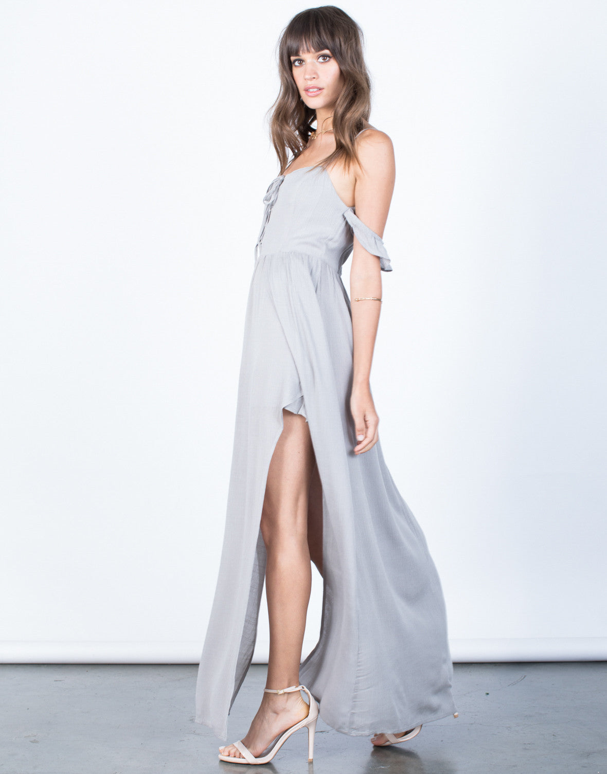 Side View of Inner Goddess Maxi Romper