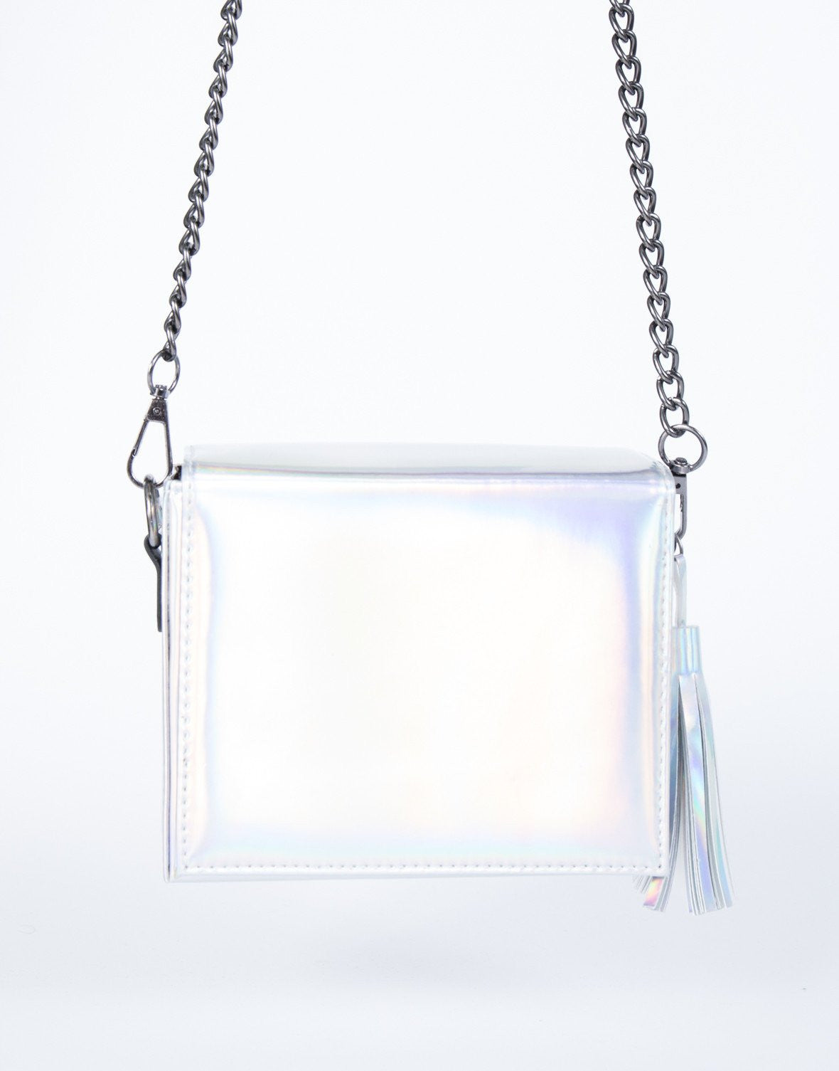 Silver Iridescent Crossbody Bag - Front View