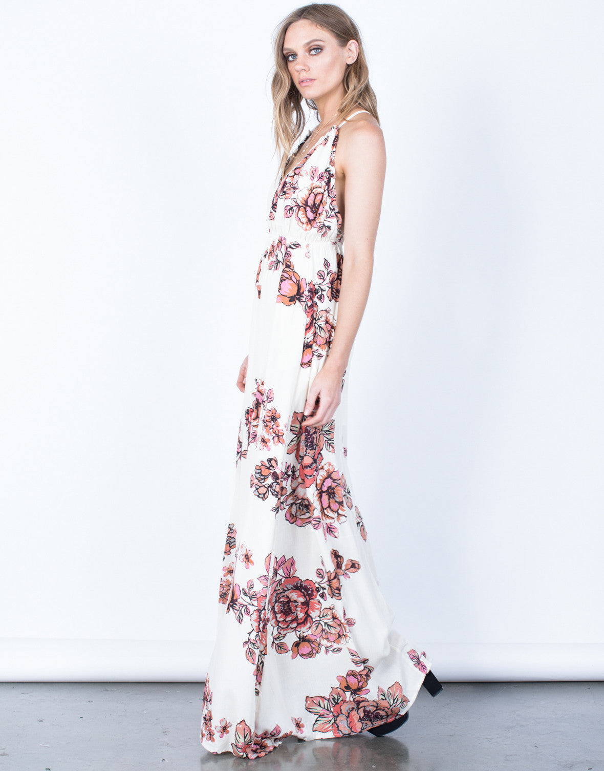 Side View of Isabel Floral Maxi Dress