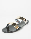 Side View of Jelly Golden Banded Sandals