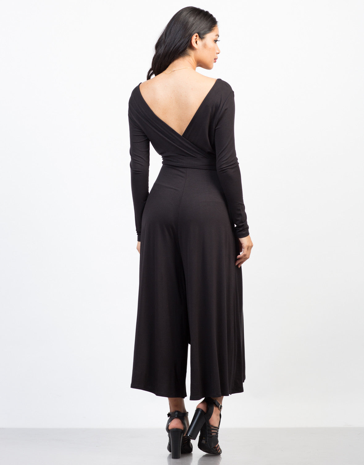 Back View of Jersey Wide Leg Jumpsuit
