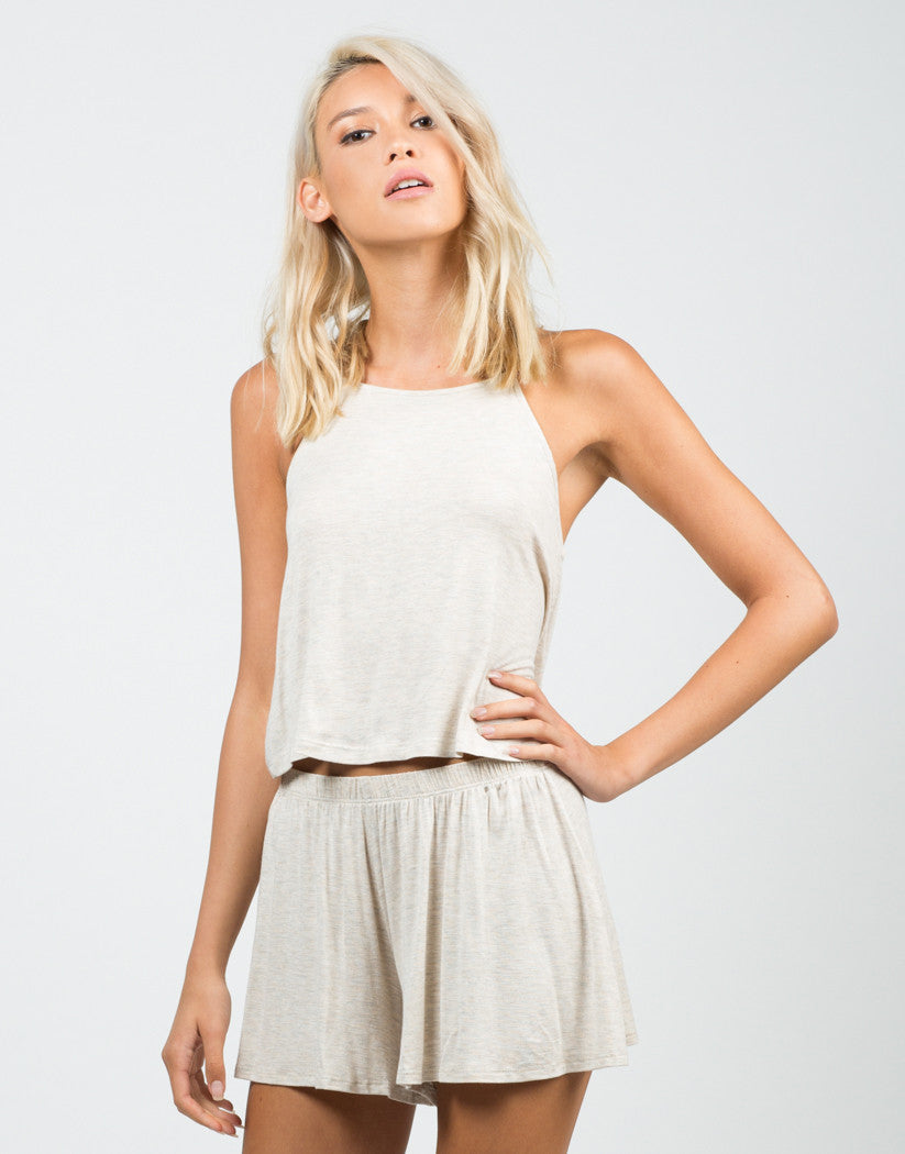 Front View of Jersey Cropped Tank