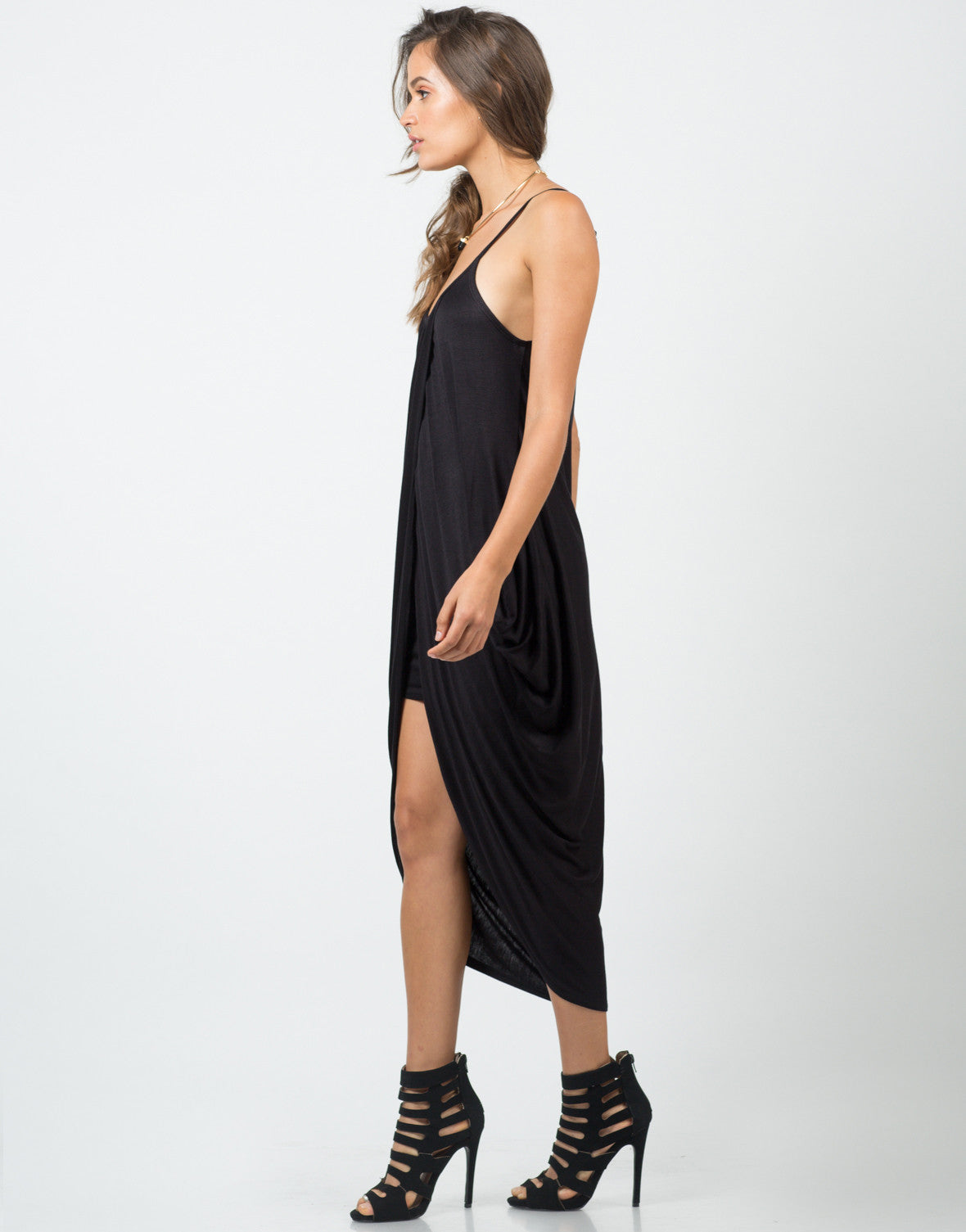 Side View of Jersey Draped Overlay Dress