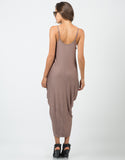 Back View of Jersey Draped Overlay Dress