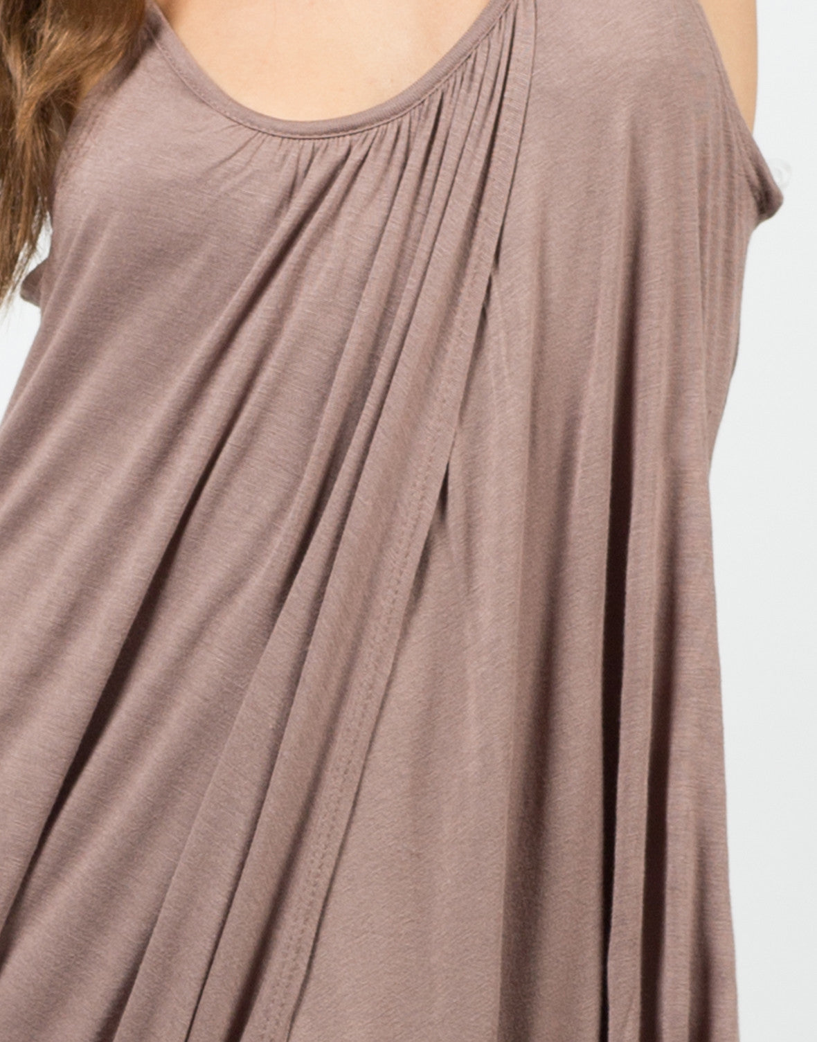 Detail of Jersey Draped Overlay Dress