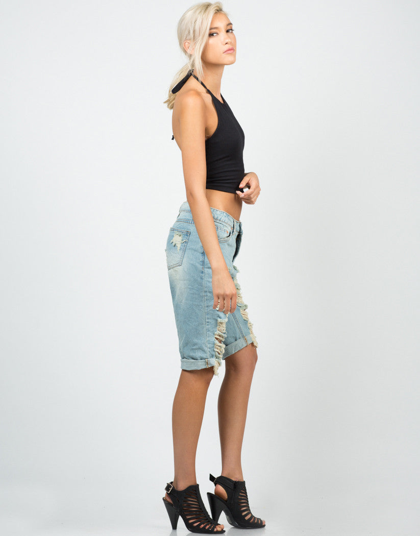 Side View of Jersey Halter Cropped Top