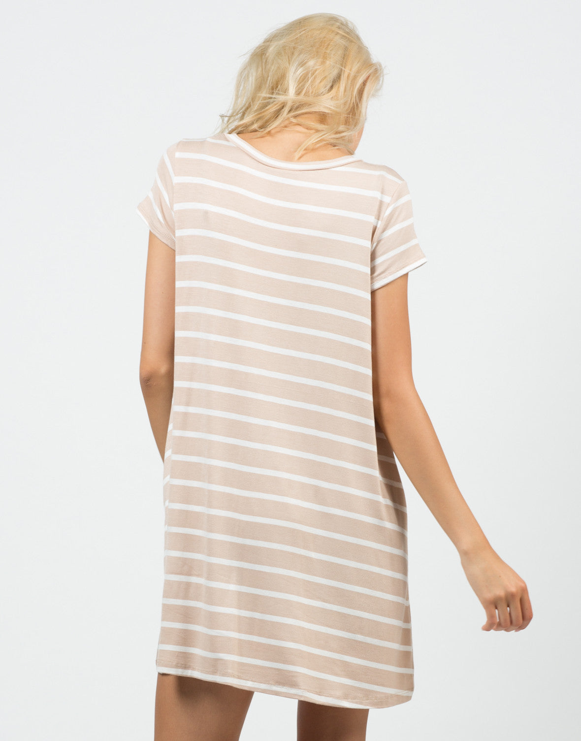 Back View of Jersey Striped Dress
