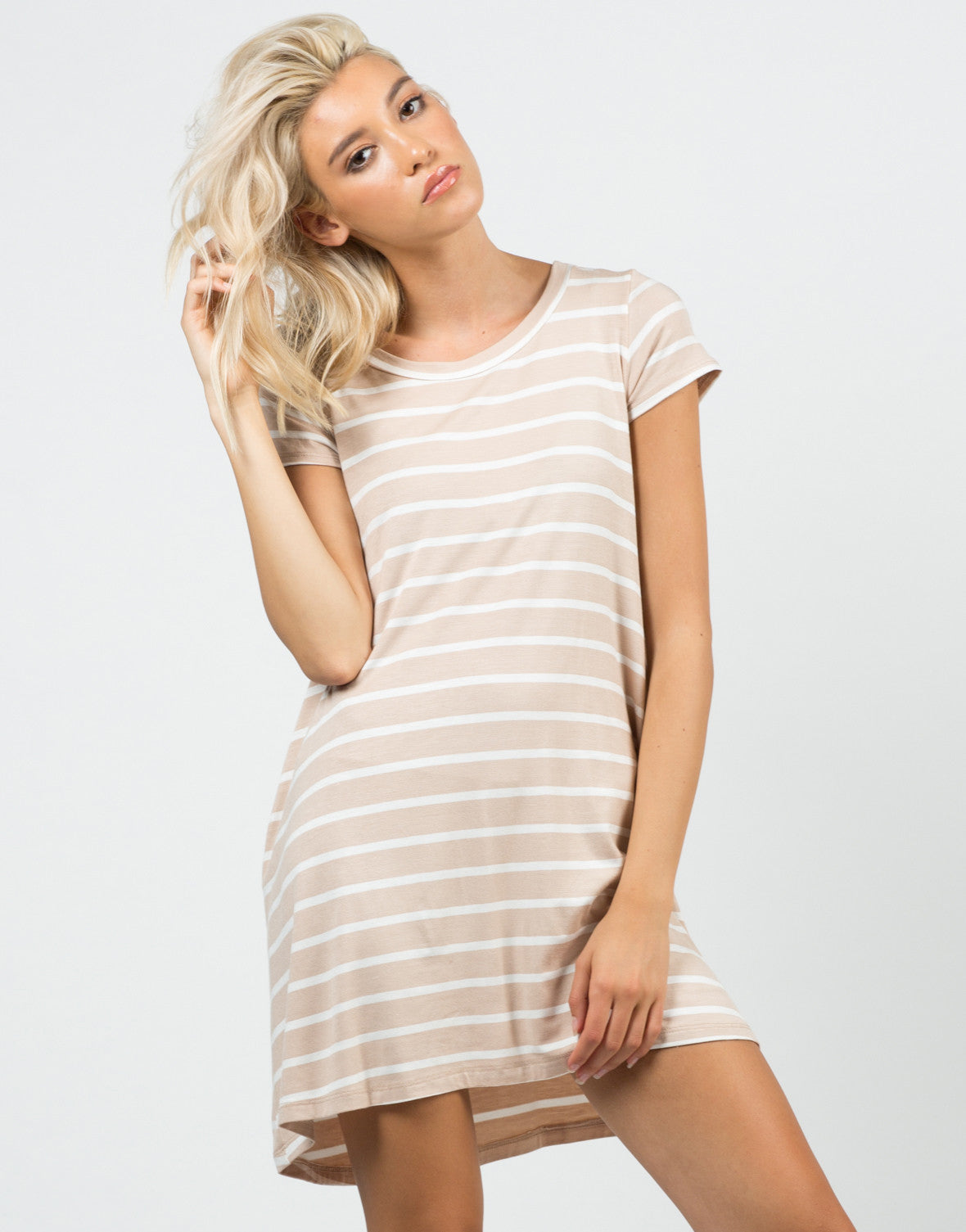 Front View of Jersey Striped Dress