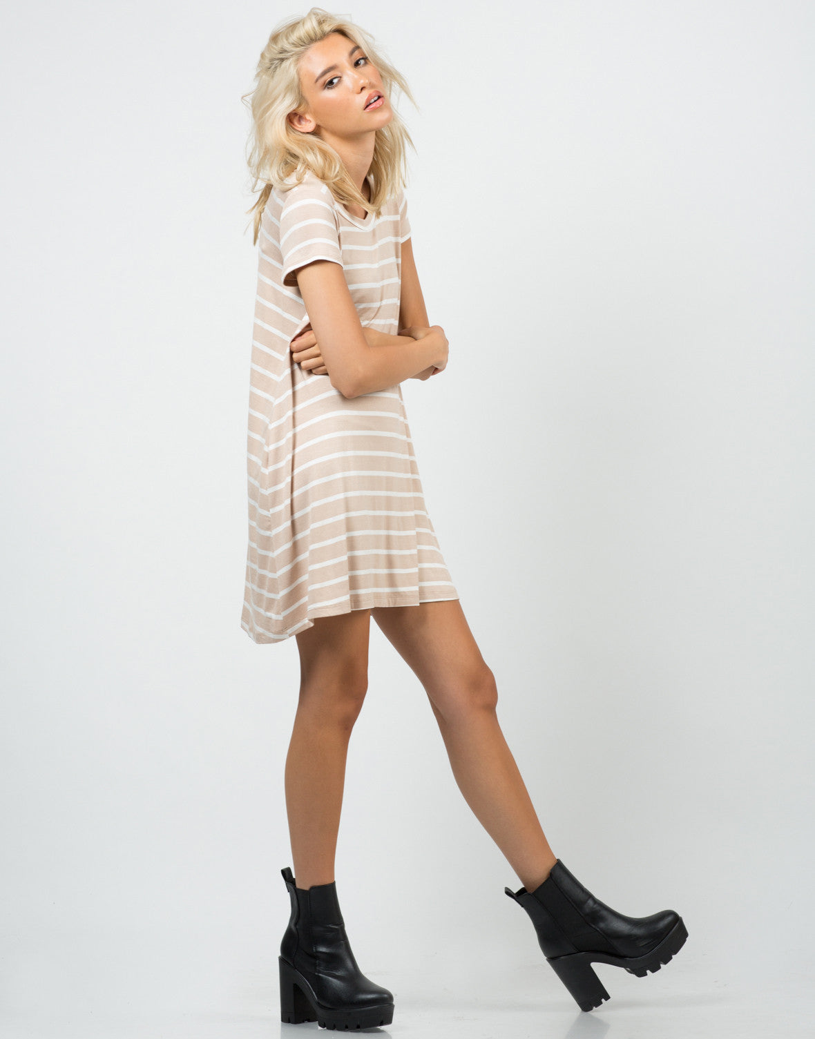 Side View of Jersey Striped Dress