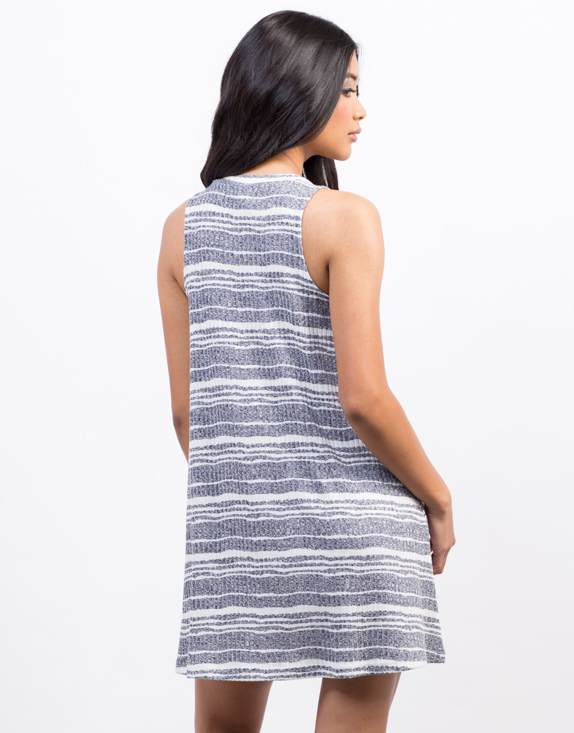 Back View of Jersey Striped Swing Dress