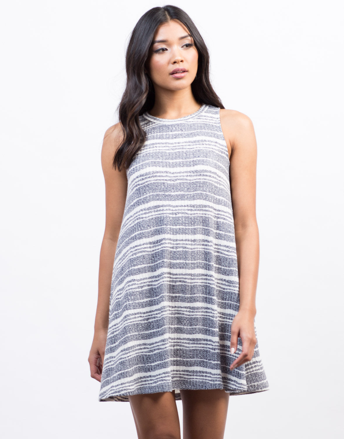 Front View of Jersey Striped Swing Dress