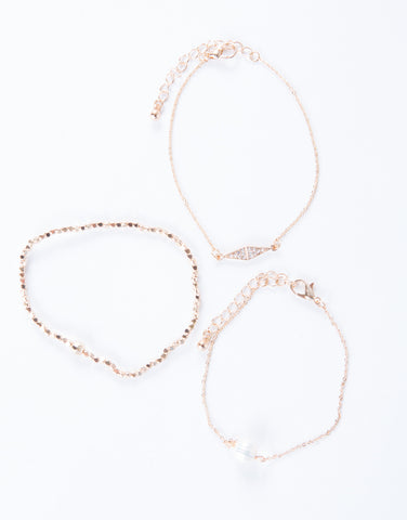 Jeweled Chain Bracelet Set