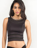 Jeweled Chain Necklace Cropped Tank