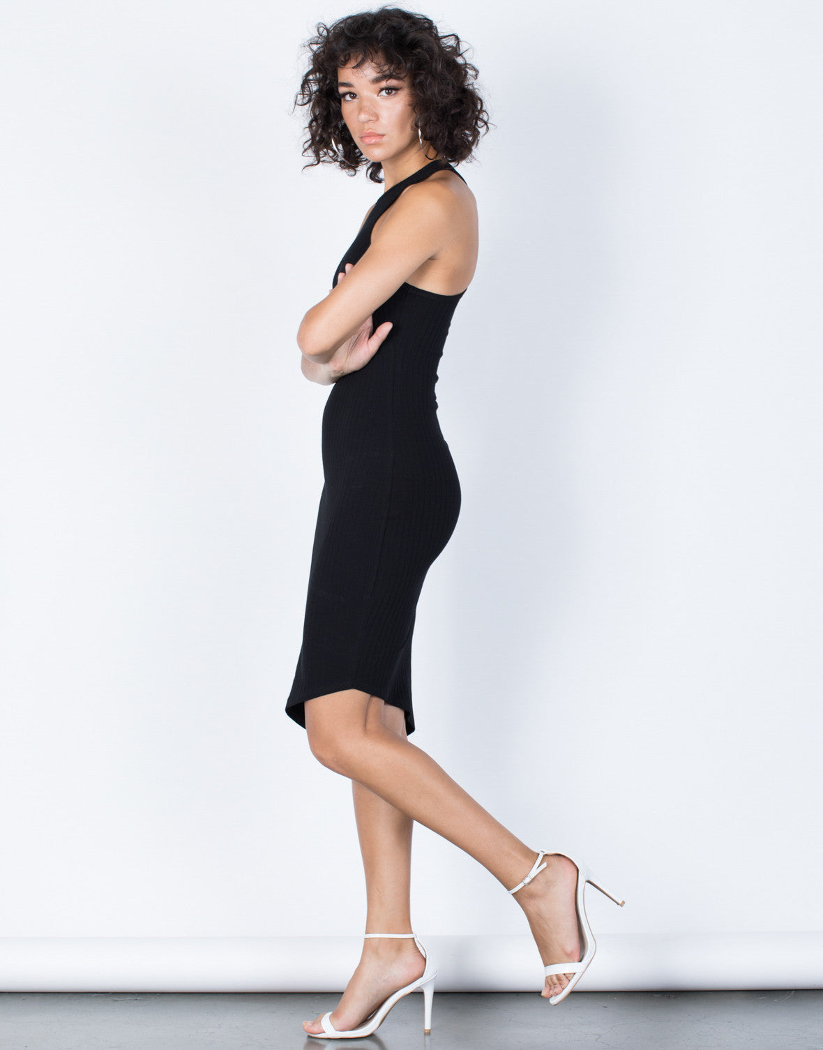 Black Jodie Asymmetrical Dress - Side View