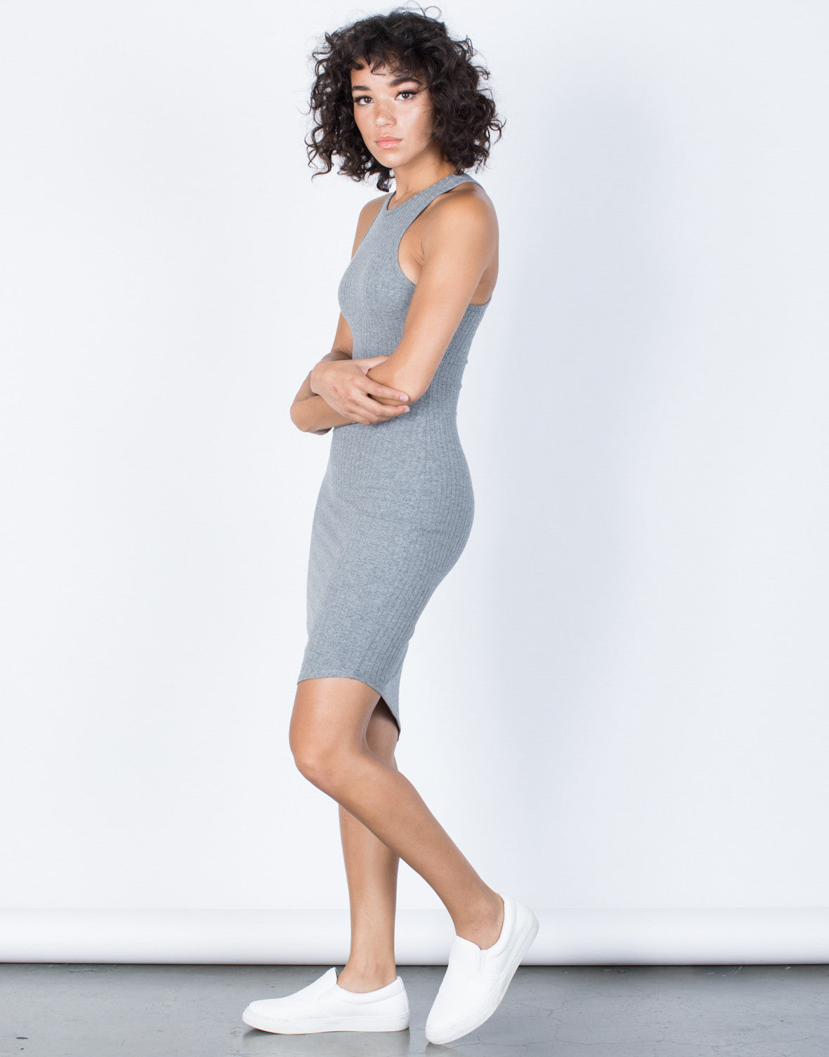 Light Gray Jodie Asymmetrical Dress - Side View