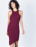 Merlot Jodie Asymmetrical Dress - Front View
