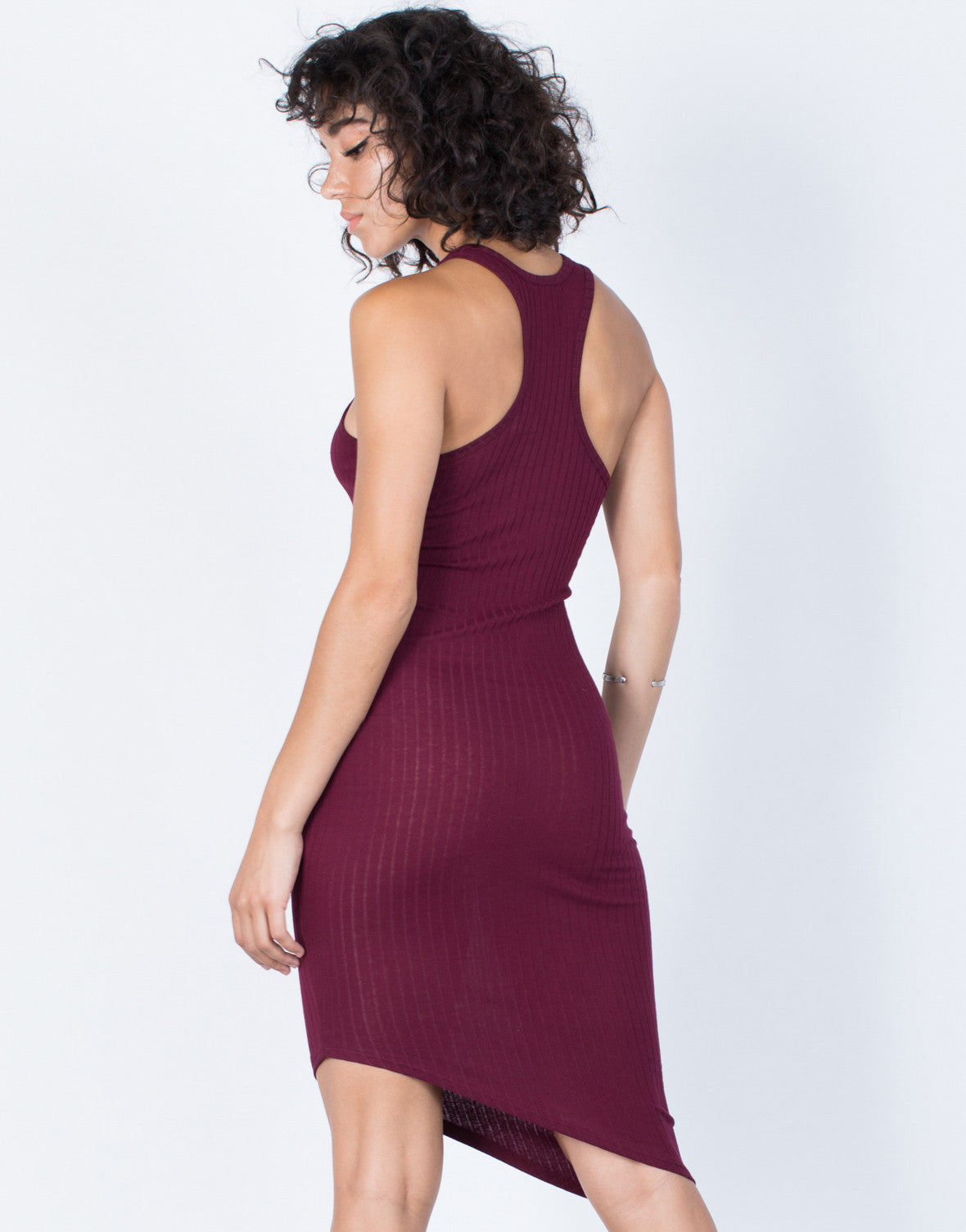 Merlot Jodie Asymmetrical Dress - Back View