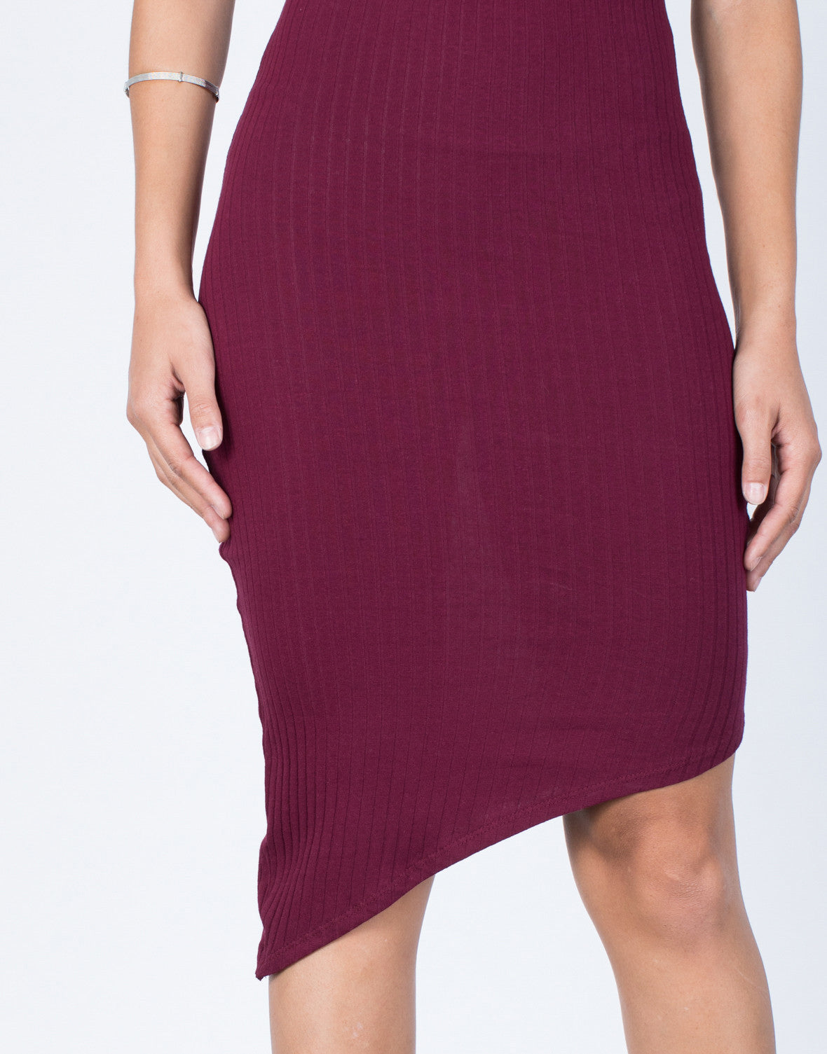 Merlot Jodie Asymmetrical Dress - Detail View