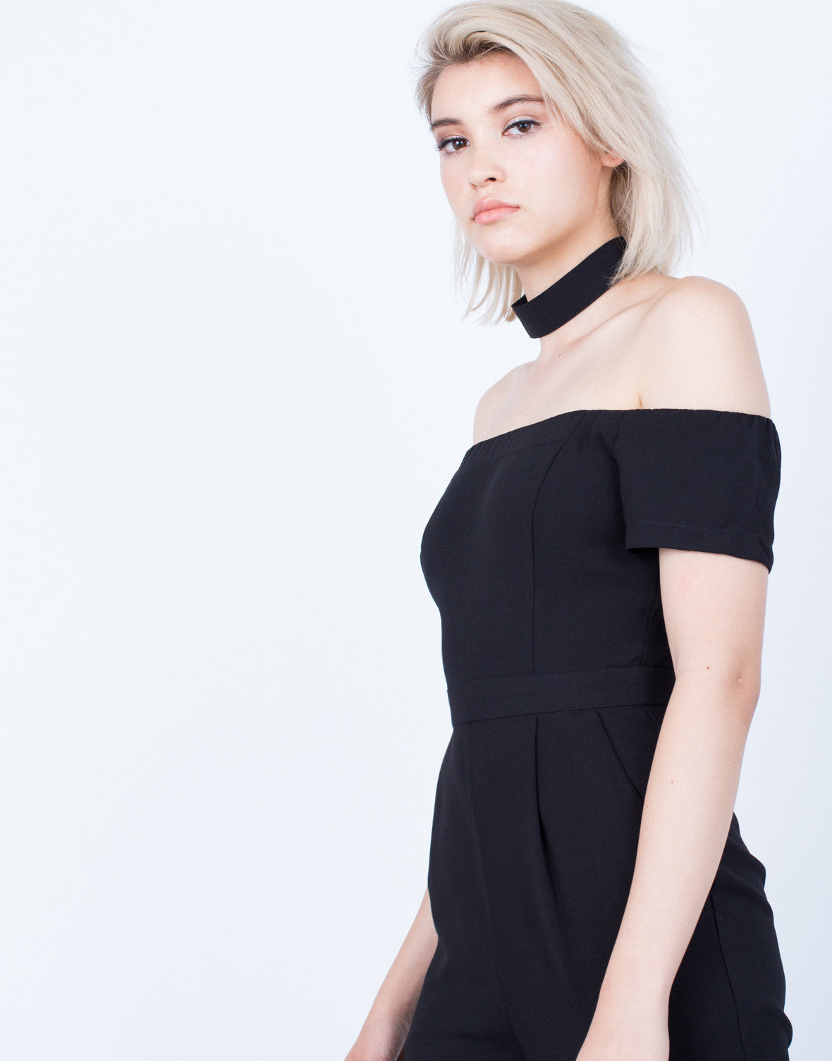 Detail of Just Right Off-the-Shoulder Jumpsuit