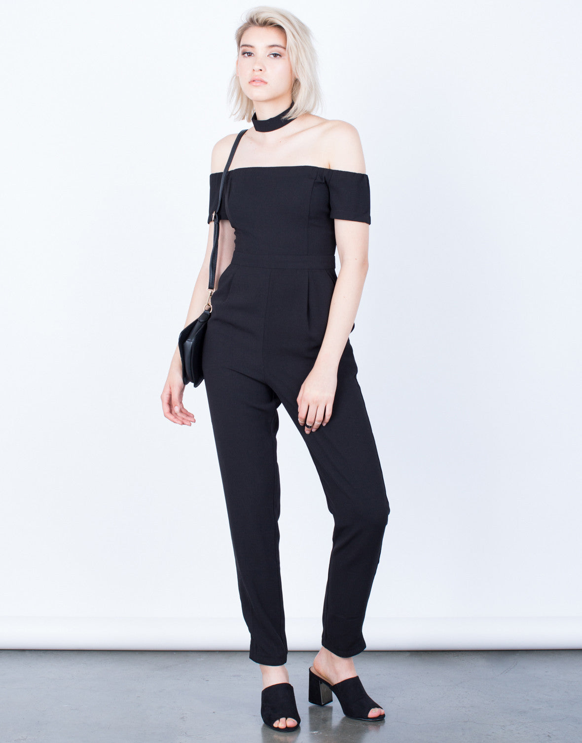 Front View of Just Right Off-the-Shoulder Jumpsuit