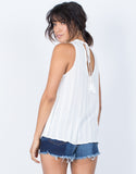 White Karla Flowy Tank - Back View