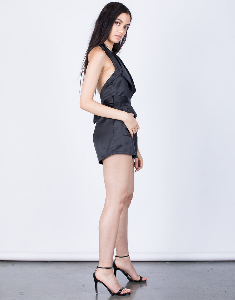 Side View of Karlie Halter Romper
