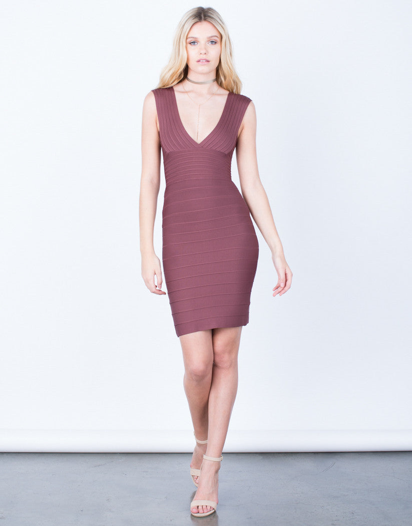 Front View of Keep it Together Bandage Dress