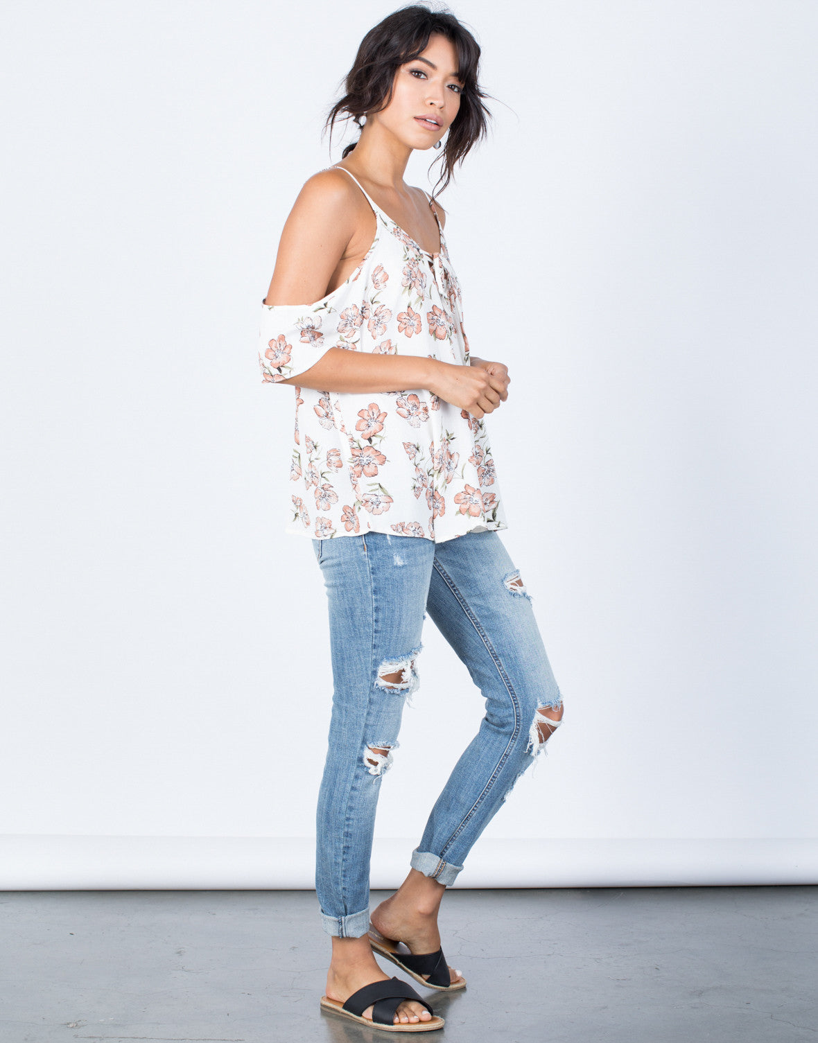 Side View of Kellie Floral Blouse