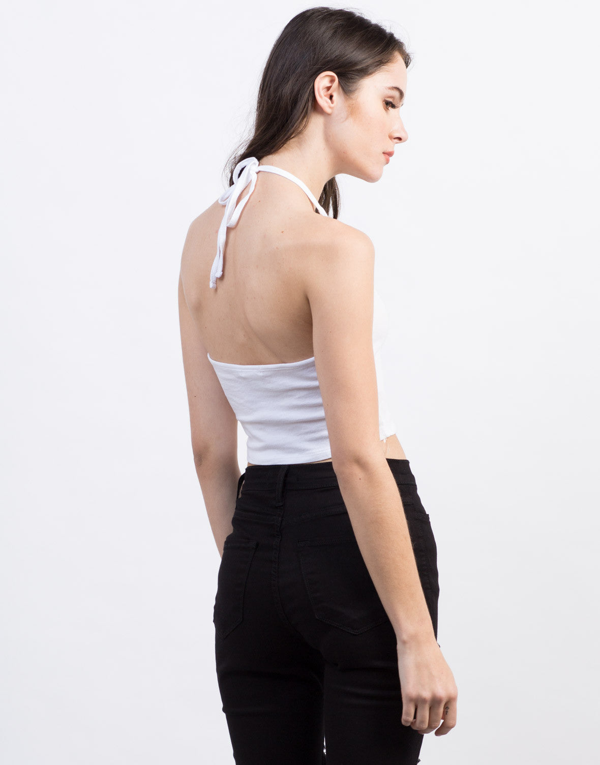 Back View of Keyhole Halter Top