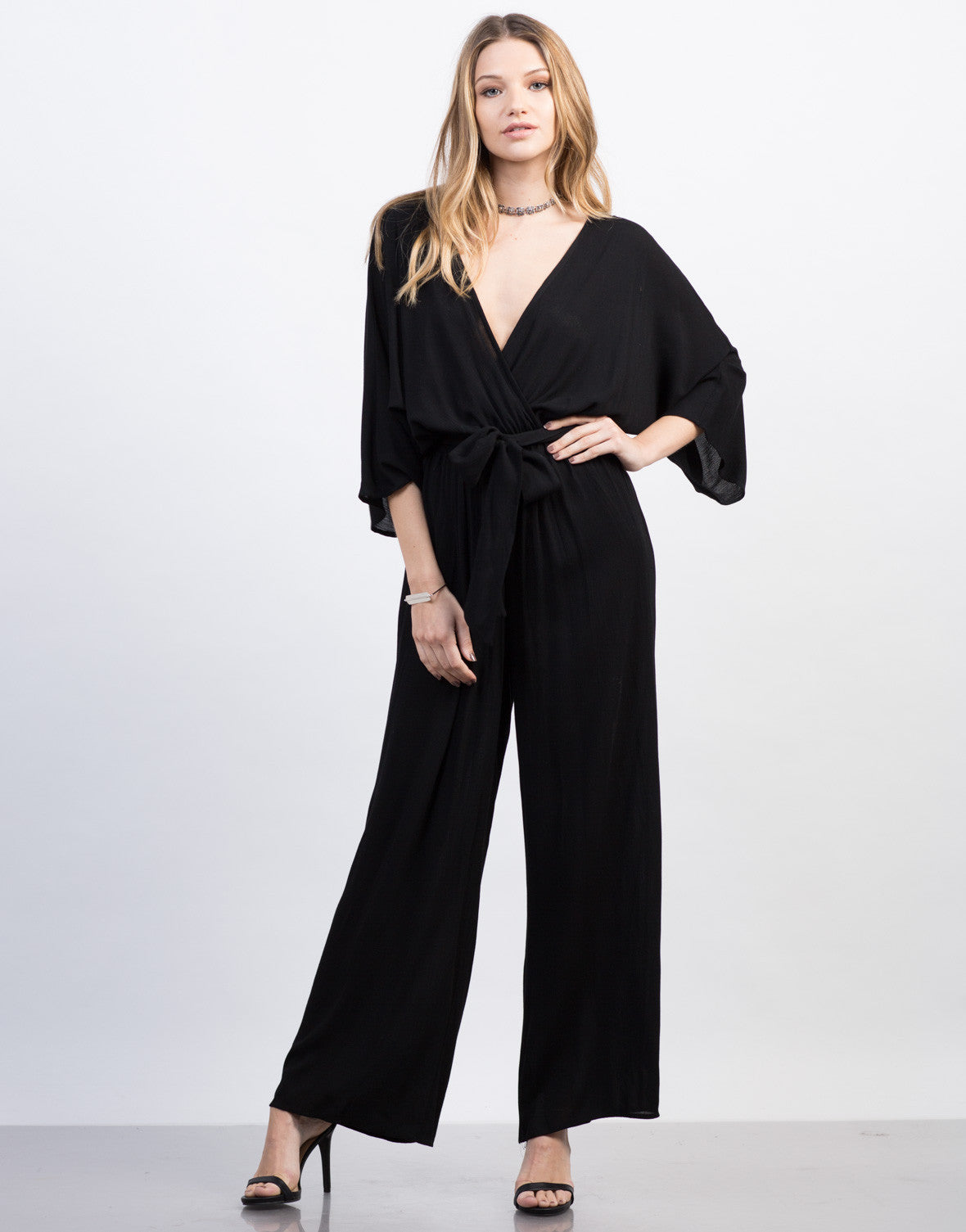 Front View of Kimono Jumpsuit