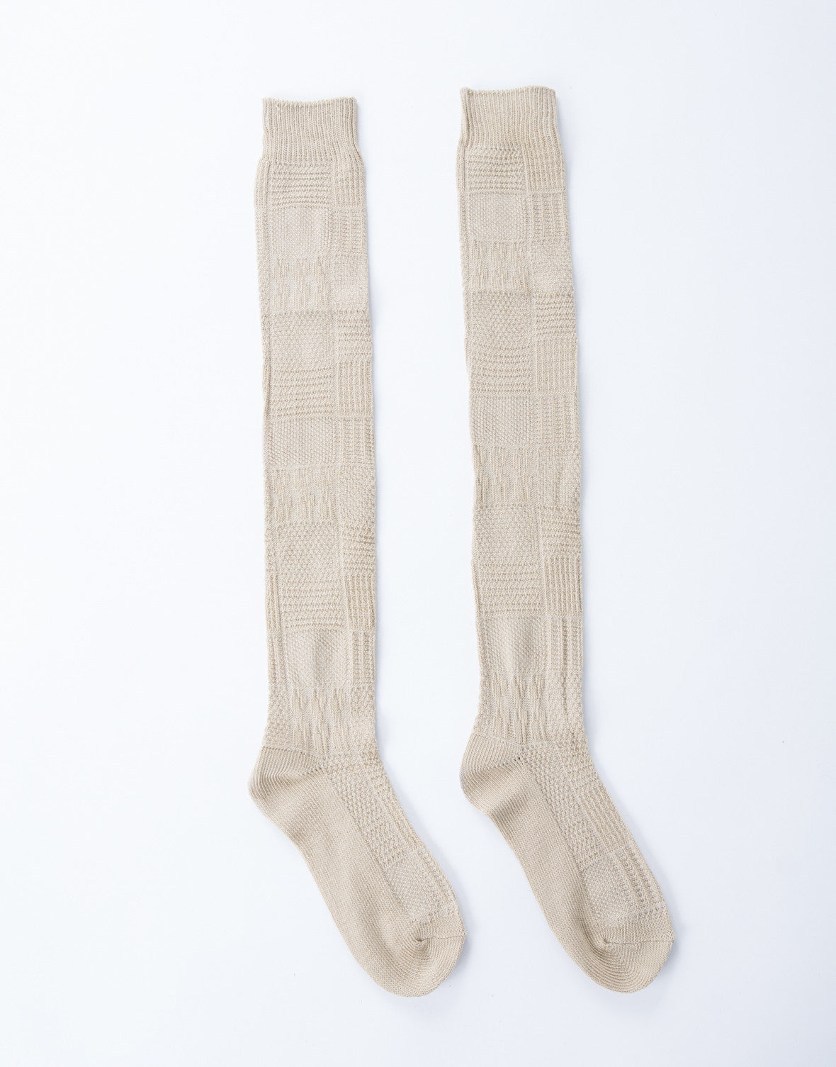 Knee High Cable Socks - Tan