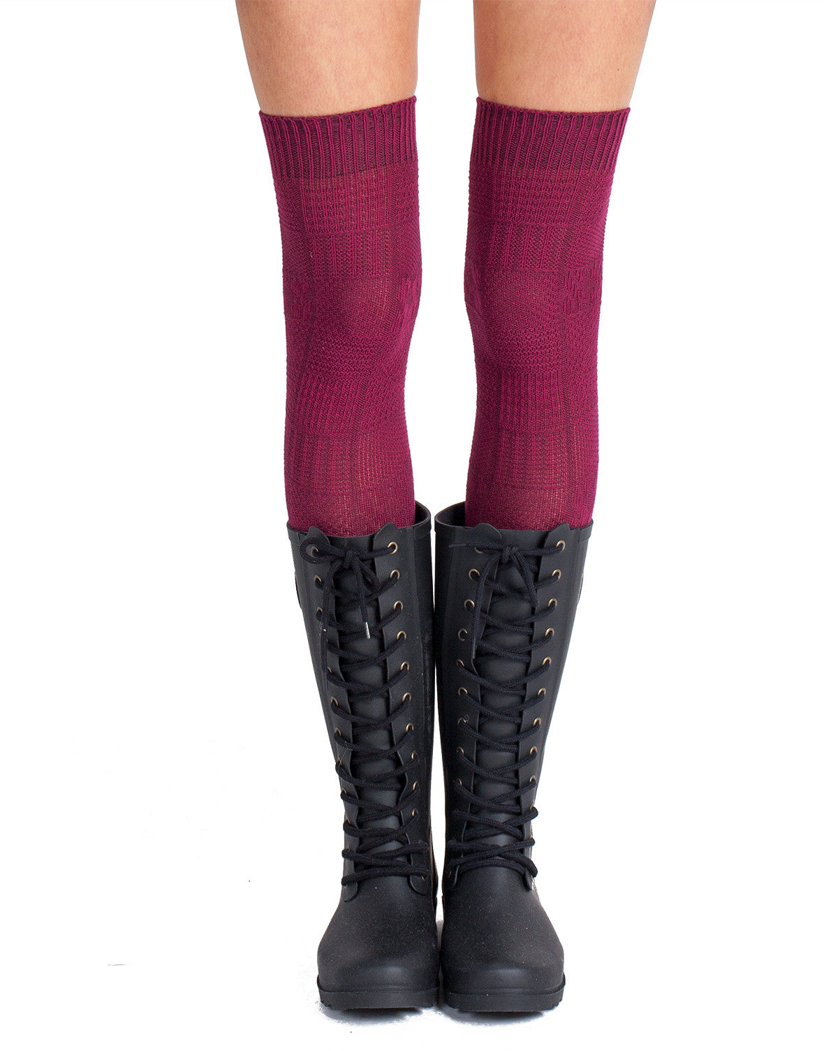 Knee High Cable Socks - Plum