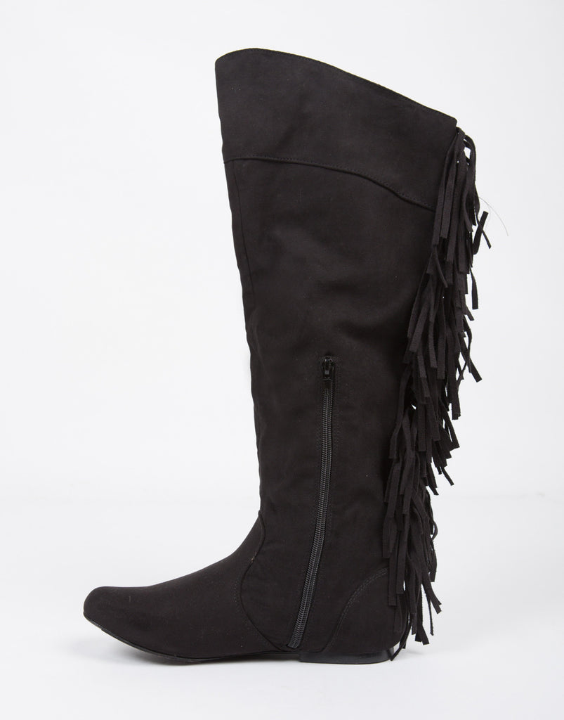 Knee High Suede Fringe Boots - 2020AVE