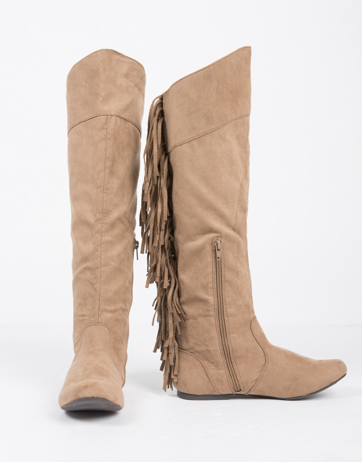 Knee High Suede Fringe Boots