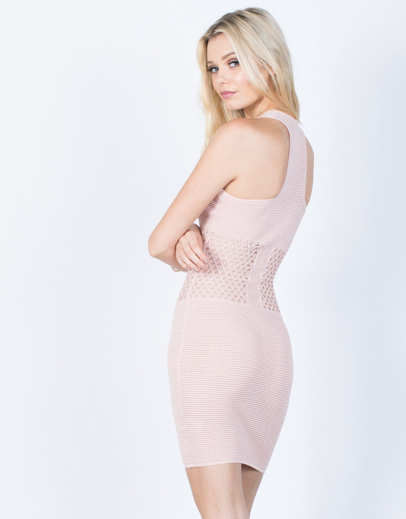Back View of Knit Around Bodycon Dress