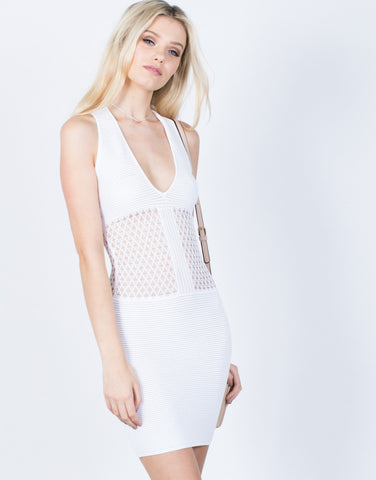 Front View of Knit Around Bodycon Dress