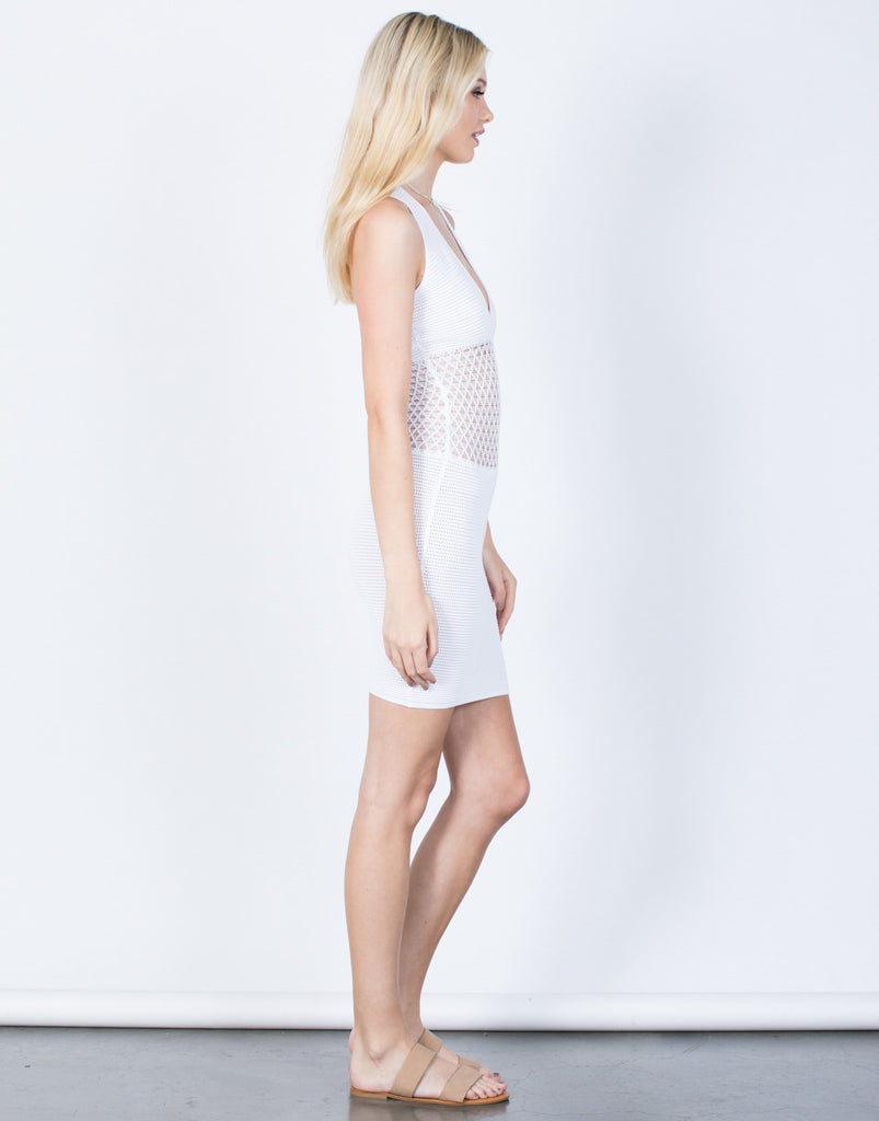 Side View of Knit Around Bodycon Dress