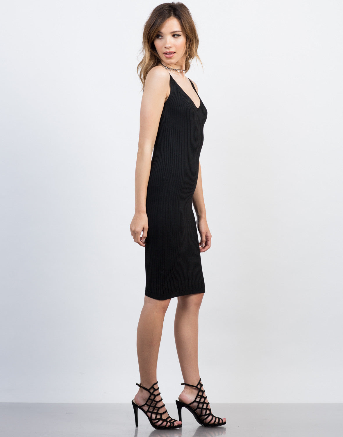 Side View of Knit Cami Midi Dress