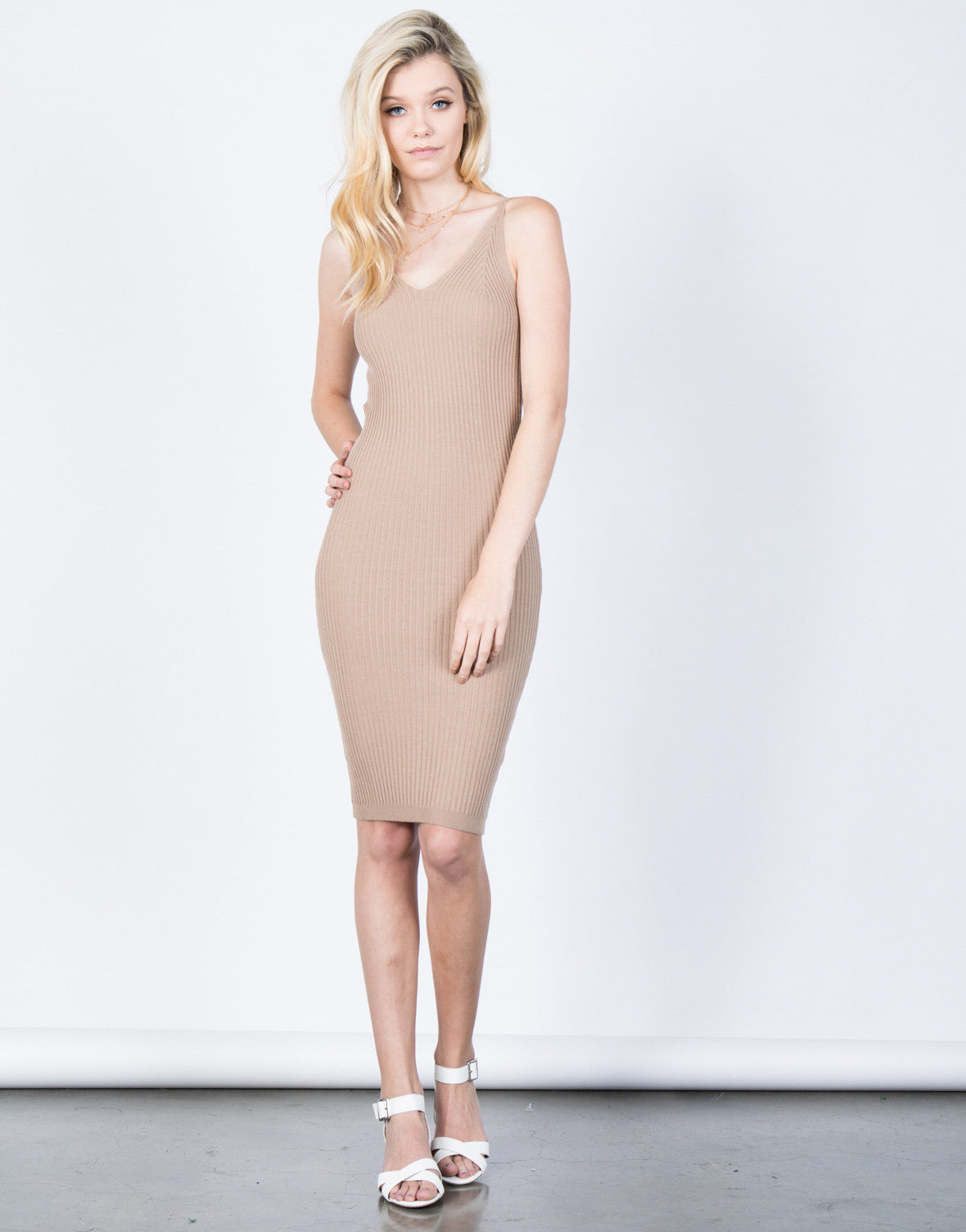 Front View of Knit Cami Midi Dress