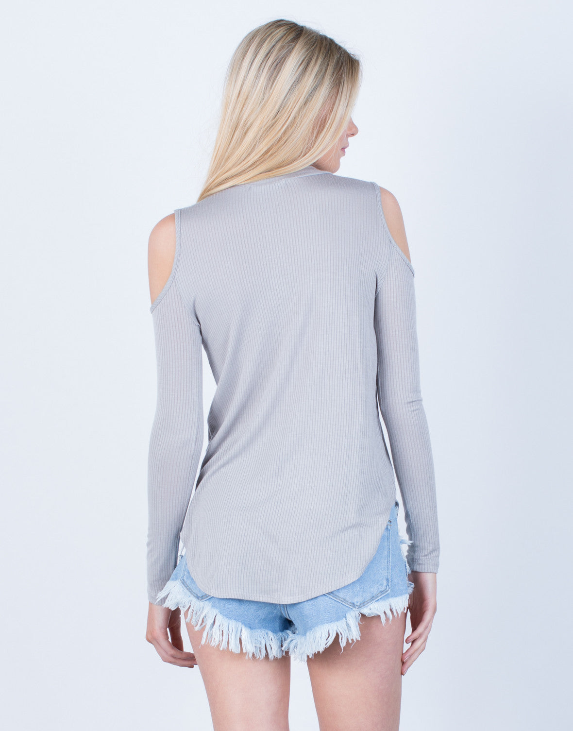 Back View of Knit Cold Shoulder Top